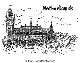 netherlands black and white card sketch style