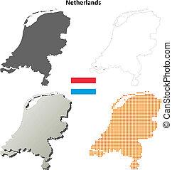 Netherlands blank outline map set