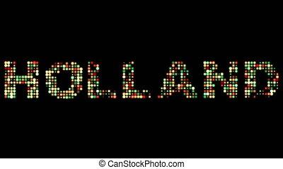 netherlands, bunte, leuchtdiode, text