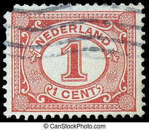 Netherlands Stamp Numeral 1 Cent - NETHERLANDS - CIRCA 1898:...