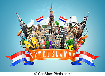 Netherlands collage, cheese and Dutch houses with Souvenirs