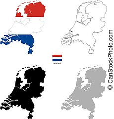 Netherlands country black silhouette and with flag on background