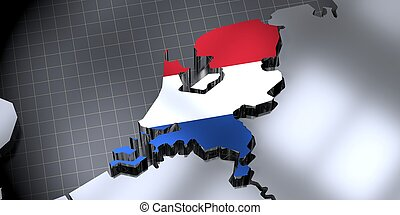 Netherlands - country borders and flag - 3D illustration