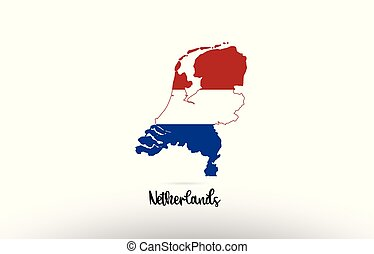 Netherlands country flag inside map contour design icon logo