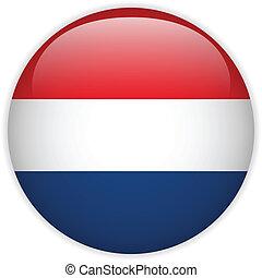 Netherlands Flag Glossy Button - Vector - Netherlands Flag...
