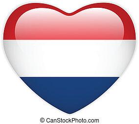Netherlands Flag Heart Glossy Button