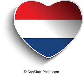 Netherlands Flag Heart Paper Sticker