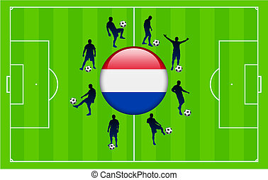 Netherlands Flag Icon Internet Button with Soccer Match
