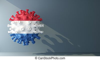 Netherlands flag on covid-19 virus with copy space