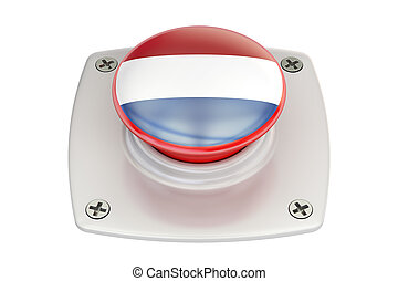 Netherlands flag push button, 3D rendering