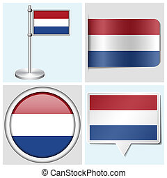 Netherlands flag - set of various sticker, button, label and flagstaff