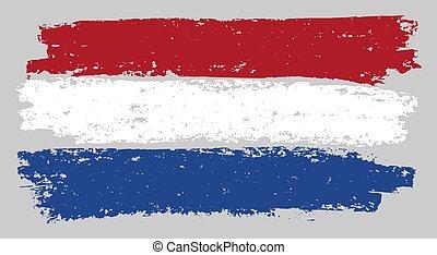 Netherlands Flag Sketch Illustration with Chalk Effect