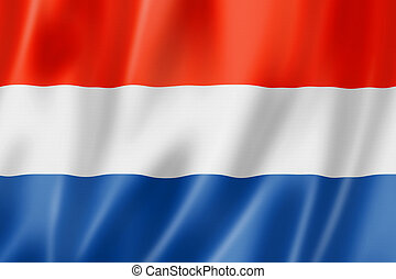 Netherlands flag, three dimensional render, satin texture