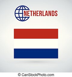 Netherlands Flag vector illustration isolated on modern background with shadow.