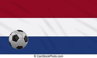 Netherlands flag waving and football rotates, loop