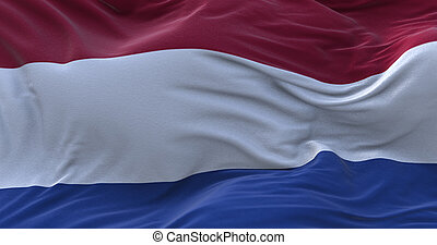 Netherlands flag waving in the wind.