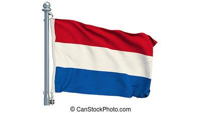 Netherlands flag waving on white background, animation. 3D rendering