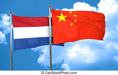 Netherlands flag with China flag, 3D rendering