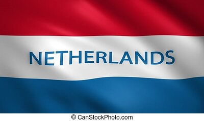 Netherlands flag with the name of the country