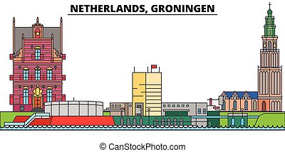 Netherlands, Groningen. City skyline, architecture, buildings, streets, silhouette, landscape, panorama, landmarks. Editable strokes. Flat design line vector illustration concept. Isolated icons