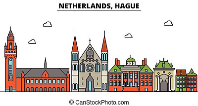Netherlands, Hague. City skyline architecture, buildings, streets, silhouette, landscape, panorama, landmarks. Editable strokes. Flat design line vector illustration concept. Isolated icons set
