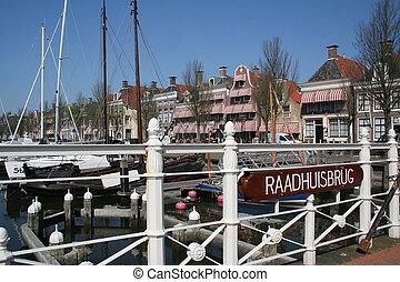 Netherlands, Harlingen,-june 2016: Ships moored in the port