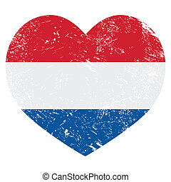 Netherlands, Holland heart flag - Dutch vintage heart shaped...