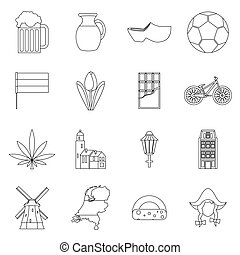 Netherlands icons set, outline style