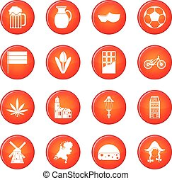 Netherlands icons vector set