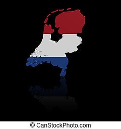 Netherlands map flag with reflection illustration