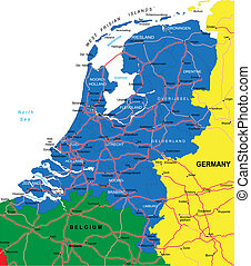 Highly detailed vector map of Netherlands with administrative regions, main cities and roads.