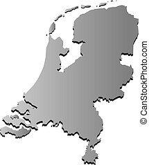 Netherlands map in gray on a white background. Vector illustration