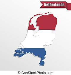 Netherlands map with flag inside and ribbon