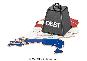 Netherlands national debt or budget deficit, financial crisis concept, 3D rendering