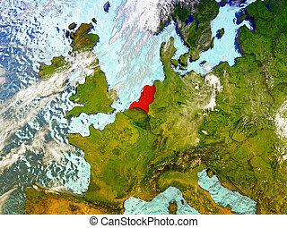 Netherlands on illustrated globe