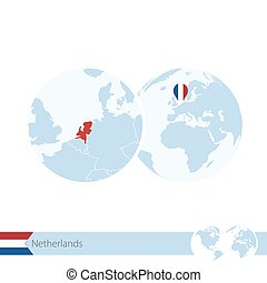 Netherlands on world globe with flag and regional map of Netherlands.