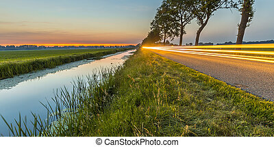 Netherlands open polder landscape traffic