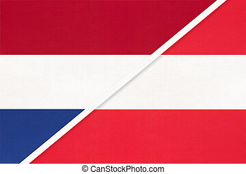 Netherlands or Holland and Austria, symbol of national flags...