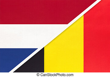 Netherlands or Holland and Belgium, symbol of national flags from textile. Relationship, partnership and championship between two European countries.