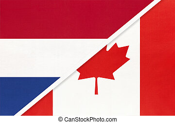 Netherlands or Holland and Canada, symbol of national flags from textile. Championship between two countries.
