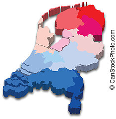 Vector illustration of a 3D province map and flag from Netherland
