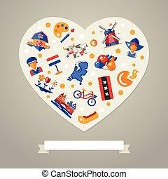 netherlands, reise, herz, postkarte, mit, berühmt, niederländisch, symbole