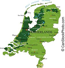 Netherlands relief map
