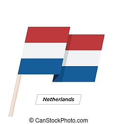 Netherlands Ribbon Waving Flag Isolated on White. Vector ...