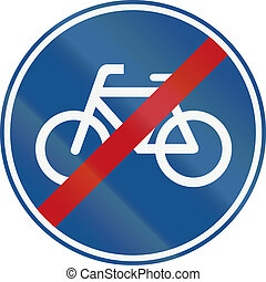 Netherlands road sign G12 - End of pedal cycles route