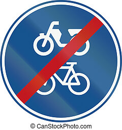 Netherlands road sign G12b - End of route for pedal cycles and mopeds only