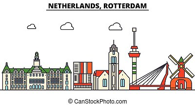 Netherlands, Rotterdam. City skyline architecture,...