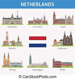 netherlands., símbolos, de, ciudades