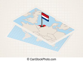 Netherlands selected on map with isometric flag of Netherlands.