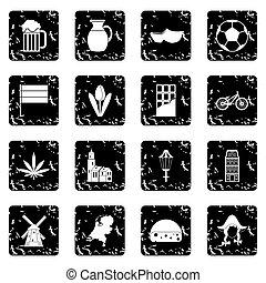 Netherlands set icons, grunge style
